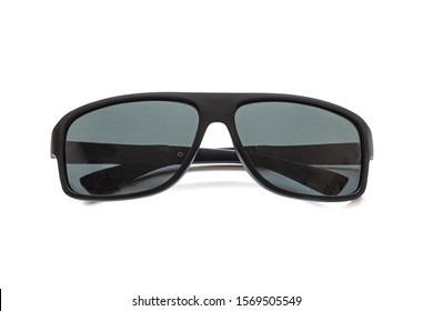 Sunglasses made of black plastic, with darkened glasses, isolated on a white background