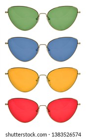 Sunglasses with metal frame, cat's eye shape, red, yellow, green and blue lenses, isolated on white background with clipping path