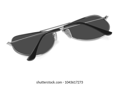 Sunglasses With Metal Frame Lying on White Background