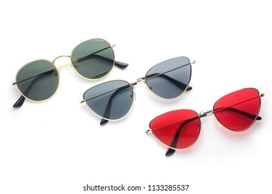 sunglasses in metal frame, trend set, isolated on white
