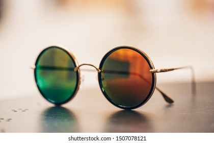 Sunglasses on the background.Cool sunglasses isolated on white background, top view.