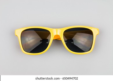 Sunglasses on a gray background
