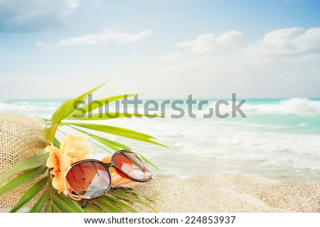 4198c54cc2ae Sunglasses On Sand Beach Stock Photo (Edit Now) 224853937 - Shutterstock
