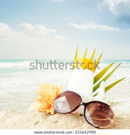 2cc86681efb4 Sunglasses On Sand Beach Stock Photo (Edit Now) 225662980 - Shutterstock