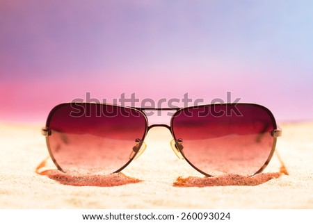 7b9294c6e6e9 Sunglasses On Sand Beach Stock Photo (Edit Now) 260093024 - Shutterstock