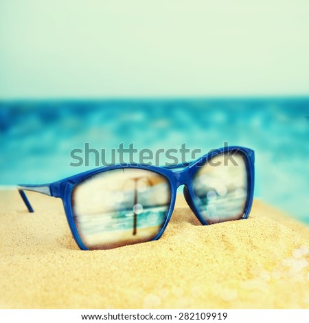 a32d8d3091a4 Sunglasses On Sand Beach Stock Photo (Edit Now) 282109919 - Shutterstock