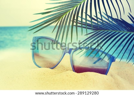 f4428fab927f Sunglasses On Sand Beach Stock Photo (Edit Now) 289129280 - Shutterstock