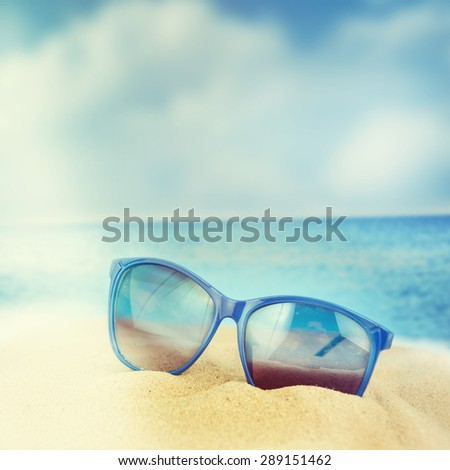 266eff64743a Sunglasses On Sand Beach Stock Photo (Edit Now) 289151462 - Shutterstock