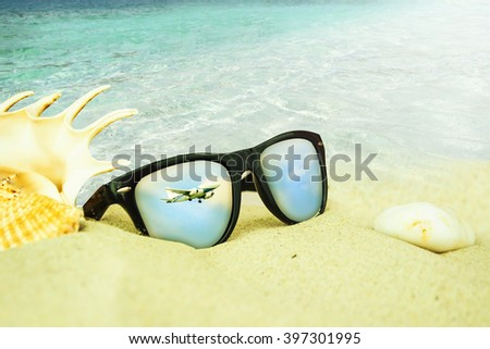 17838d0e6fdf Sunglasses On Sand Beach Stock Photo (Edit Now) 397301995 - Shutterstock