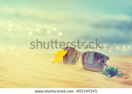 a6a52eb4b6fc Sunglasses On Sand Beach Stock Photo (Edit Now) 401549245 - Shutterstock