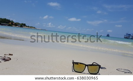 811eddd5359f Sunglasses On Sand Beach Stock Photo (Edit Now) 638030965 - Shutterstock