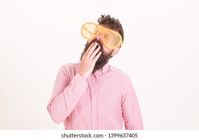 Sunglasses party attribute and stylish accessory. Hipster wear shutter shades extremely big sunglasses. Man bearded guy wear giant louvered sunglasses. Eye protection sunglasses accessory concept.