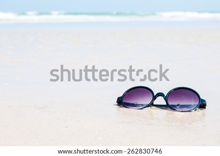 2e7a23a65679 Sunglasses Sand Beach Stock Photo (Edit Now) 262830746 - Shutterstock