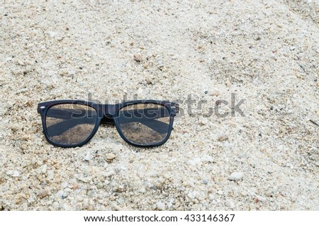 9676dd1db6b4 Sunglasses Sand Beach Stock Photo (Edit Now) 433146367 - Shutterstock