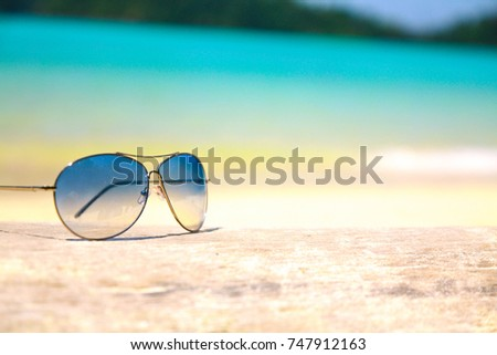271b28e353ca Sunglasses Sand Beach Blurry Focus Stock Photo (Edit Now) 747912163 ...