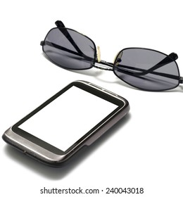 sunglasses with smart phone on a white background