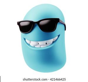 Sunglasses Smiley Emoji Cartoon. 3d Rendering.