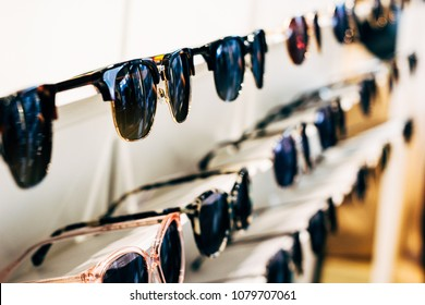 Sunglasses in a store