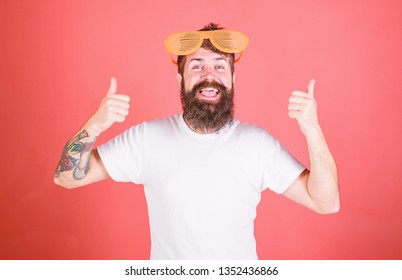 Sunglasses summer attribute and stylish accessory. Hipster wears shutter shades sunglasses. Man bearded hipster wears giant louvered sunglasses. Summer party accessory. Summer accessory concept.