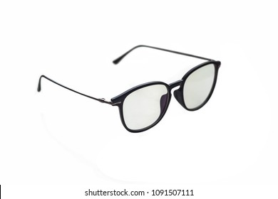 Sunglasses in a thin black frame, isolated on white background