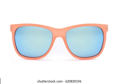 Sunglasses in a transparent yellow frame isolated on white