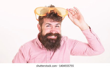 Sunglasses vacation attribute. Eye protection sunglasses summer accessory. Bearded man wear sunglasses. How to get ready for your next vacation. Hipster wear shutter shades extremely big sunglasses.