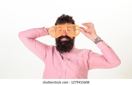 Sunglasses vacation attribute and stylish accessory. Eye protection sunglasses summer accessory. Hipster wear shutter shades extremely big sunglasses. Man bearded guy wear giant louvered sunglasses.