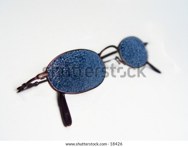 Sunglasses with Water drops on them