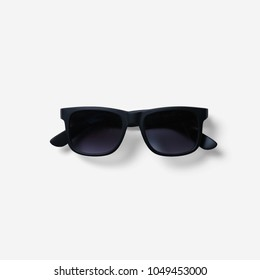 Sunglasses with white background.Black sunglasses
