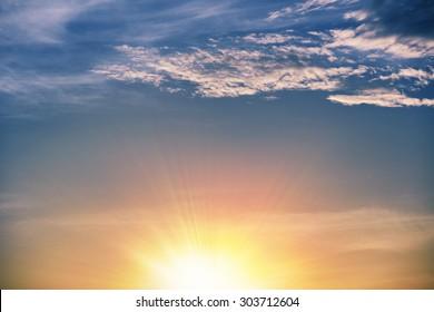 sunglow in cloud, myriads of sun rays