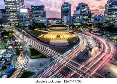 Sungnyemun gate (Namdaemun Market) at night in Seoul, South korea.