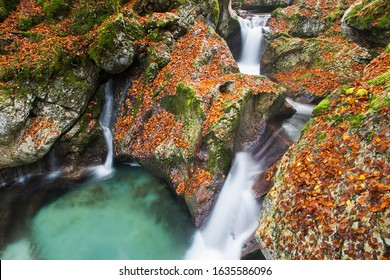 Sunik water grove, mountain river gorges with waterfall in autumn colors,  turquoise river Lepenca, Bovec, Slovenia, Soca valley, Triglav national park, Europe