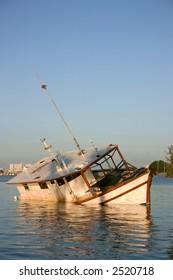Sunk Fishing Boat on Florida's Gulf Coast. Madeira Beach Florida