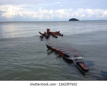 Sunken boat off the coast of Sihanoukville, Cambodia