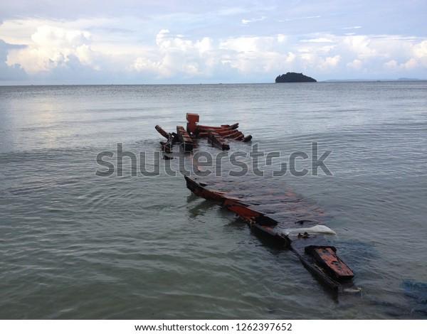 Sunken boat off the coast of Sihanoukville, Cambodia