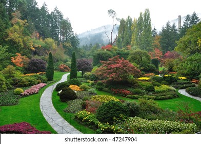 Sunken garden inside the historic butchart gardens in spring, victoria, british columbia, canada