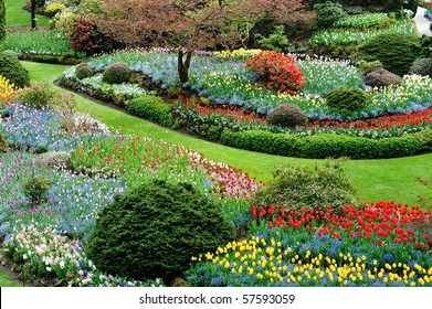 Sunken garden inside the historic butchart gardens, victoria, british columbia, canada