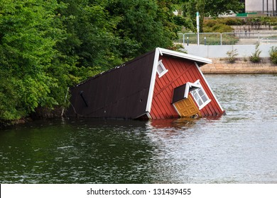 A sunken house in a river of Malm���¶, Sweden