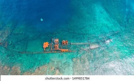 Sunken Old Ship in Roatan Honduras Bay Islands