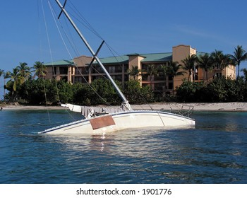 Sunken sailboat in St. Thomas, USVI