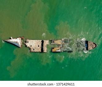 Sunken Ship Aerial at Seacliff beach, California, USA