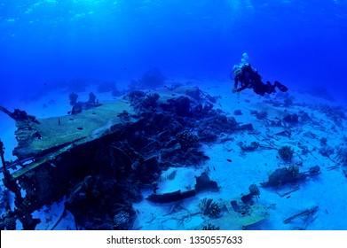 sunken ship and aircraft in saipan