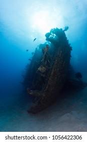 Sunken ship on side underwater