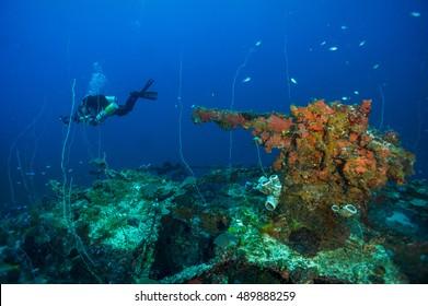 Sunken ship stern gun with diver
