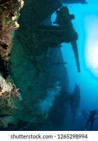 sunken ship with under the sea
