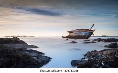 Sunken Ship Wreck in Gulf of Thailand, soft filter long exposure