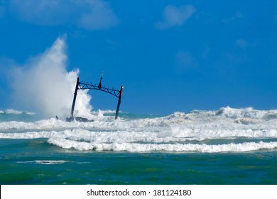 Sunken ship wreck and stormy sea