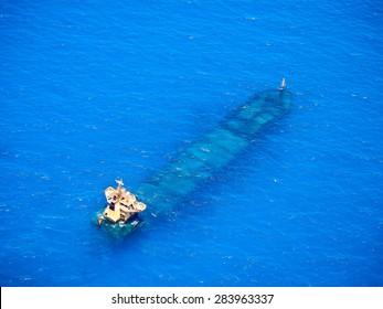 The sunken shipwreck
