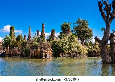 The sunken stupas of Sagar, Taunggyi, Inle Lake, Myanmar