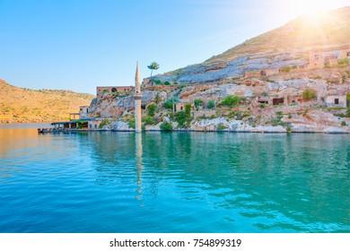 """Sunken village """"Halfeti"""" in Gaziantep Turkey"""